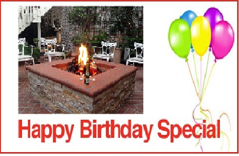 Bright bunch of balloons on White background with text CATALINA'S COURTYARD GARDEN SUITES HAPPY BIRTHDAY SPECIAL