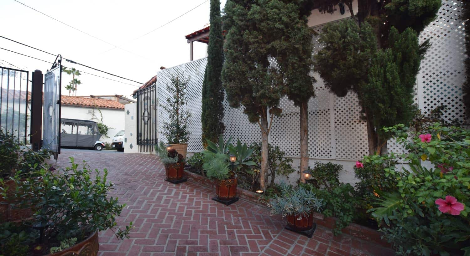 Red-brick driveway lined with skinny trees, plants and bushes