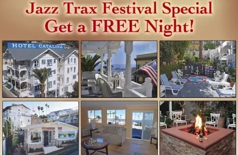 Collage of images regarding a Jazz Festival discount for Hotel Catalina.